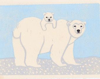 Polar Bears Hand Carved Linocut Illustration Art Print 5 x 7 Winter, Blue, White