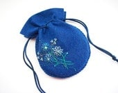 Gift Pouch Blue Felt Jewelry Travel Bag or Compact String Pouch Hand Embroidered Handsewn