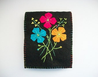 Needle Book Black Felt Needle Organizer with Hand Embroidered Felt Flowers Handsewn