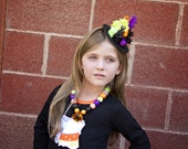 Halloween Mini Witch Hat - BLACK CAT- available on a headband OR clips