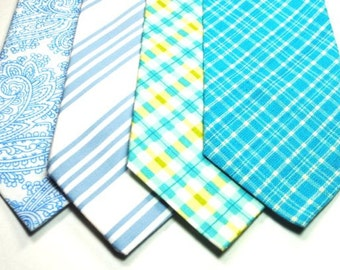 Sale, Blue Mens Cotton Neckties - 17 each or 2 for 30