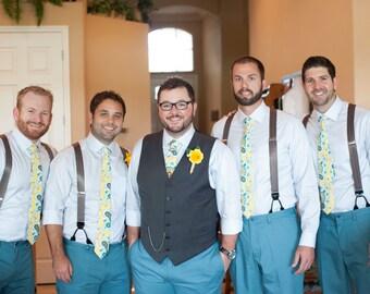 Wedding Neckties, Mens Neckties  - Weddings, Floral Neckties, Custom Neckties, Yellow Neckties, Aqua Neckties