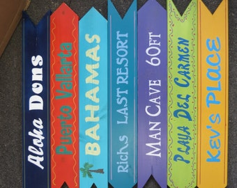 12 Hand painted & cut Wood Directional Signs 24 x 3 1/2 Custom Colors Wording for Sign Post Wedding Beach Backyard Business Mileage