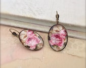 Pink Rose Earrings Glass Dome Earrings Vintage Style Floral Earrings Lever Back Earrings