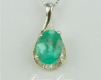 Apatite Sterling Silver Necklace 8x6mm 1ct