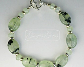 Prehnite Bracelet Sterling Silver 14x10mm Ovals With 6x4mm Rondelles And Sterling Silver Toggle Clasp