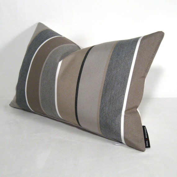 Modern Outdoor Pillow : Grey Brown Pillow Cover Modern Outdoor Pillow Cover by Mazizmuse