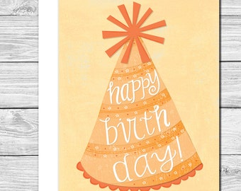 Break out the party hats! hand drawn birthday card