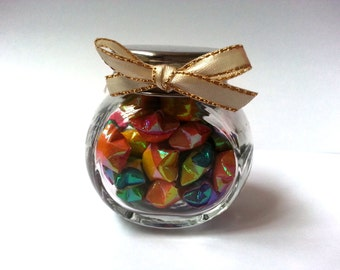 Mini Glass Cookie Jar with Paper Origami Lucky Stars, Wishing Stars - Rainbow