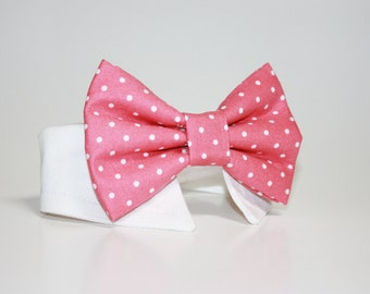 Polka Dot Bow Tie- Shirt and Bow Tie Dog Collar- More Colors Available- Wedding Dog Tie-  Polka Dot