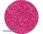 DB-2037 luminous hot magenta seed beads - inside color lined seed beads - round cylinder seed beads