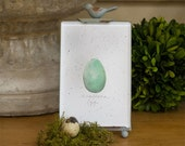 "Farmhouse Blue Egg Print in Rustic Bird Frame 4""x 7"" French Country Farmhouse Home Decor"