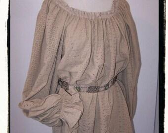 Embroidered Cotton Hip Length Light Tan Renaissance Costume Dress Chemise Medieval