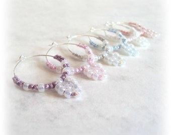 Wine Glass Charms , Set Of Six , Beaded Tatting , Baroque Rococo Marie Antoinette Inspired - Clemence