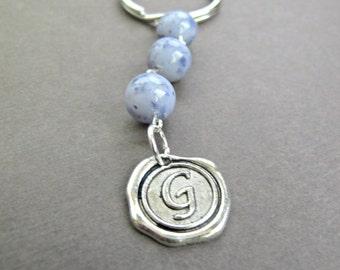 Flower Petal Wax Seal Initial Keyring/ Bridal and Memorial Bead Keepsake
