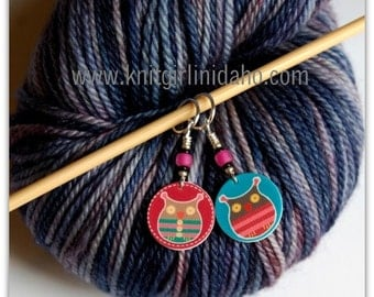 Pink & Blue Owl Stitch Markers (Set of 2)
