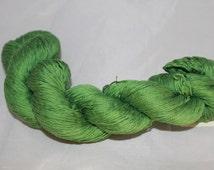 Recycled Grass Green Mercerized Cotton Yarn, Fingering Yarn - 388 Yards