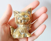 Vintage Brass Kitty - Solid Brass Cat Figurine
