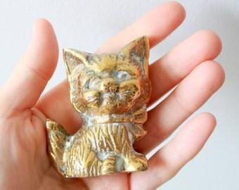 Vintage Brass Kitty - Solid Brass Cat Figurine