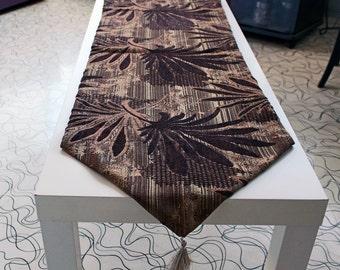 Brown Table Runner, Velvet Palm Leaves. Gold Tassel, Home Gift Idea, Unique Home Decor Housewarming Gift
