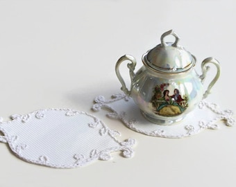 Shabby Chic Coaster, Fabric Tea Cup Coaster Lacy Glass Mat Doily , Set of 2, Victorian Style Home Decor, Table Charm, Handmade Unique