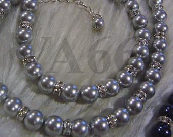"Classic Pearl Necklace Diamond Rondelles Lt Grey Elegant 18KGP Swarovski Pearl Necklace 925 silver 18"" + 2"" 27 Colours Bridal, Bridesmaids"