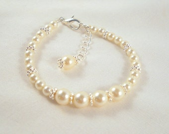 MORE COLORS Beautiful Pearl Bracelet Flower Girl First Communion Weddings Baptism Baby Dedication