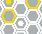 Design Studio Hexagons Fabric by Camelot Fabrics Gray Grey White and Yellow
