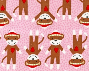 Sock Monkey Fabric by Robert Kaufman Brown Monkeys with Hearts on a Pink Polka Dot Dots Background