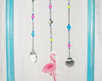 Distressed Beach House Coastal Wall Decor Framed Glass Pink Flamingo with Vintage Crystal Accent Beads Metal Shell
