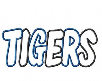 Tigers 2 Color  Embroidery Machine Applique Design 4238