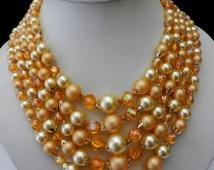 1950s Vintage Five Strand Yellow & Orange Beaded Hong Kong Necklace -Mamie EISENHOWER ,a Wonderful Story-Art.836/2 -