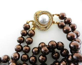 Wonderful Italian necklace, 1970-2 wire cascade of excellent chocolate color pearls,precious clasp & elegant color of the pearls --Art.786-