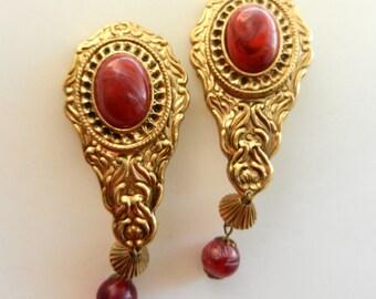 1970 Original Italian earrings - Bourbon design with imitation coral -dangling coral bead--Art.239/3 -