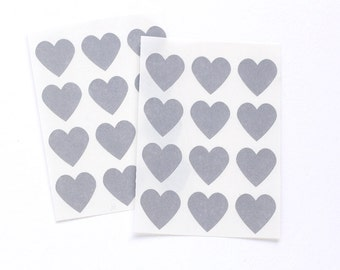 Gray Heart Stickers, Gray Heart Labels for Packages and Gifts (48)