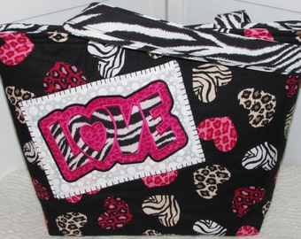ON SALE Wild Animal Print Hearts Large Tote Bag Zebra Love Purse  Purse