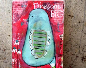 bird art block, dream big, ACEO  Reproduction Mounted On Wood Block by Sunshine Girl Designs (2.5 x 3.5 Inches Print)