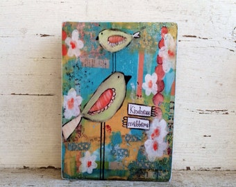 Kindness matters, aceo block reproduction by sunshine girl designs, 2.5 x 3.5, turquoise and yellow