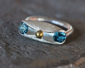 Funky London Blue Topaz Sterling Silver Ring 14K Yellow Gold Modern Unique Funny Face with Eyes Handmade Design Statement Ring - Googly Blue