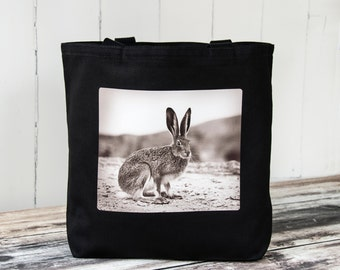 Vintage Jack Rabbit - Vintage Photograph from 1920's - Carryall Tote - School Bag - Canvas Bag - Perfect Easter Basket - Black or Natural