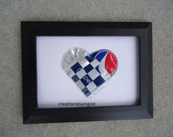 Bridesmaid's Gift - Pepsi - Woven Heart - LOVE - Soda Can Art - Original Collage 5 x 7