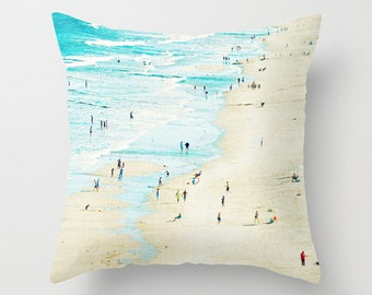 Beach Day Throw Pillow // Hostess Gift // Aquamarine Bright Blue Ocean on a Sunny Day // Modern Home Goods by Minagraphy