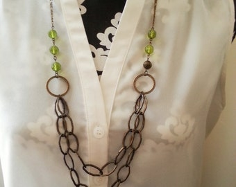 Peridot Antique Brass Beaded Layered Chain Necklace - Melanie