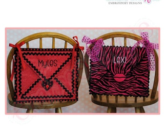 Posh and Proper - Envelope Valentine Chair Backer Bags - PDF Sewing & Embroidery Pattern - Includes Heart, Lips, Font