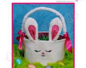 Posh and Proper - Bunny Bucket - PDF Combination Embroidery & Sewing Pattern- Instant Download -Digital Machine Embroidery Design