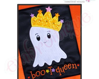 Halloween Boo T Queen Princess Crown Ghost Applique- Instant Email Delivery Download Machine embroidery design