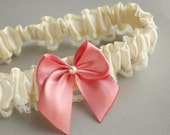 Simple Silk & Lace Toss Garter -- Ivory and Rose Pink (Custom Colors Available)