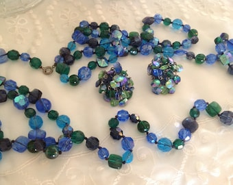 Vintage Vogue Beaded Necklace ~ Blue Stranded Necklace And Earrings Set ~ Clip on Earrings ~ Blue Jewelry ~ Gift for Her ~ Beaded Jewelry