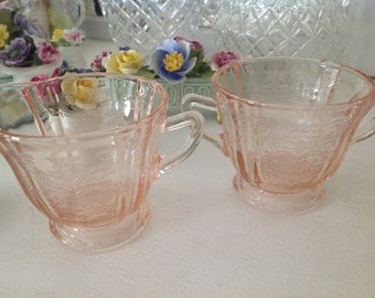 Vintage Pink Glass Cream And Sugar Set ~ Indiana Glass ~ Pretty Swag Design ~ Shabby Chic Decor ~ Romantic Living ~ PInk Kitchen