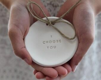 I choose you Ring bearer pillow alternative  Wedding ring dish Alternative wedding Ring pillow Ring dish